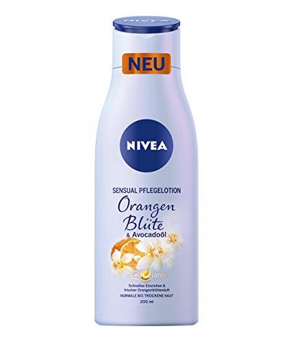 NIVEA Sensual Pflegelotion Orangenblüte & Avocadoöl im 6er Pack (6 x 200 ml), Bodylotion mit Orangenblüten-Duft verwöhnt Haut und Sinne, schnell einziehende Körperlotion spendet 24h Feuchtigkeit