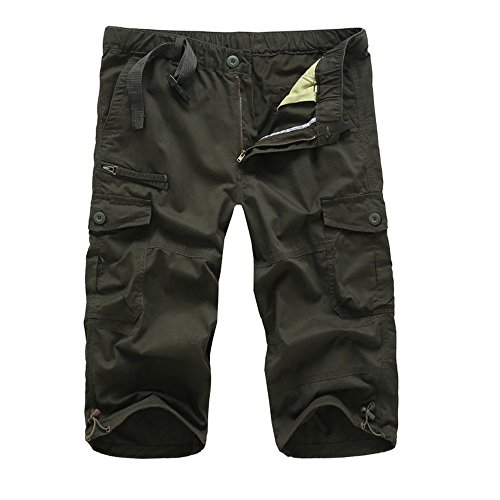 Liusdh-shorts Herren Sommer Lose Baggy Pants Beiläufige Lose Stretch Cropped Pants Overalls(Green,L) -