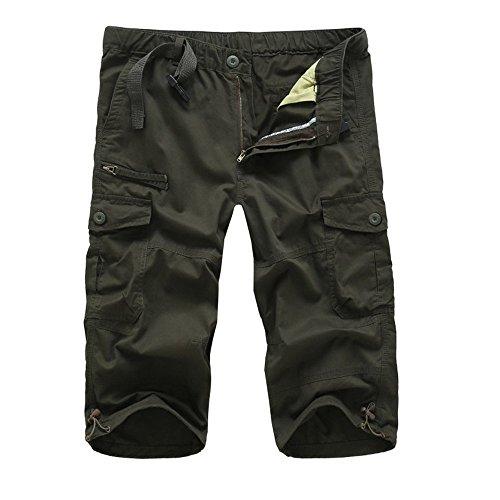 CAOQAO Pantaloni da Uomo Pantaloni Corti/Moda da Uomo Estiva Casual Allentato Vita Multi-Pezzo Pantaloni da Lavoro Dritto/Verde/M-3XL