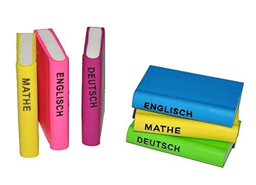 3 tlg. Set: 3-D Radiergummi als Bücher - Radierer Mathe Deutsch Englisch - für Kinder Schule Buch...