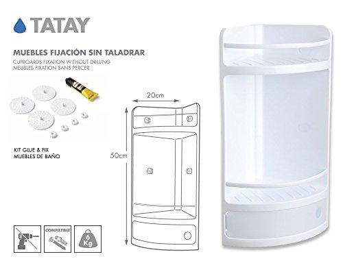 TATAY 4432001 Mueble de Baño Rinconero con Cajón Color Blanco Glue & Fix Medidas 50 x 20 x 20 cm.