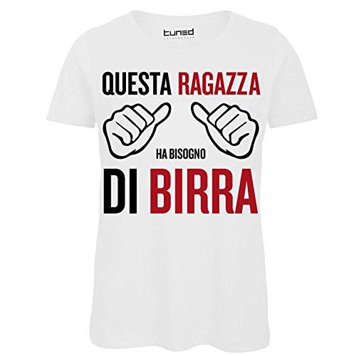 6de8bbcc048c83 T-Shirt Divertente Donna Maglietta con Frase Questa Ragazza Ha Bisogno di  Birra Tuned,