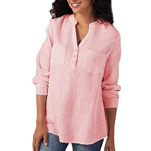 Chemisier Femme Col en v Manches Longues T-Shirt Blouse Grande Taille Bouton Chemise Mode Tee-Shirts JMETRIC Offres 2019