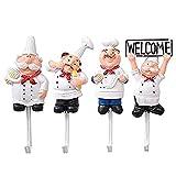 XZANTE Paquete de 4 Ganchos de Pared de Estatuilla de Chef Francés de Resina Percha Gancho de Estante Montaje de Pared de Cocinero Decorativo (Estilo Surtido)