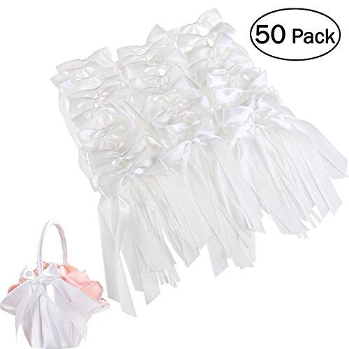 OUNONA 50 Stück Autoschleifen Hochzeit Antennenschleifen Dekoration für Hochzeit(Weiß)