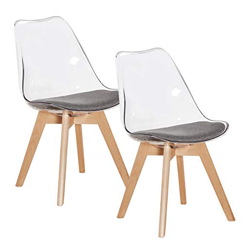EGGREE Lot de 2 Chaise Transparente Scandinave pour Salle a Manger, avec Coussin en Tissu et Pieds de Hêtre