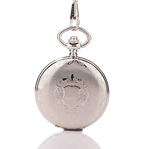 UniqueBella Uhren Halb Automatik Meschanische Taschenuhr Kette Pocket Watch Geschenk Silber Blumen