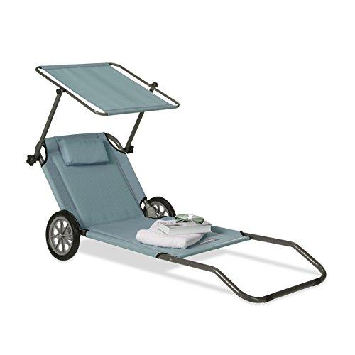 Relaxdays 10020996_139 lettino da spiaggia con ruote sdraio prendisole pieghevole con parasole schienale regolabile max.120 kg antracite