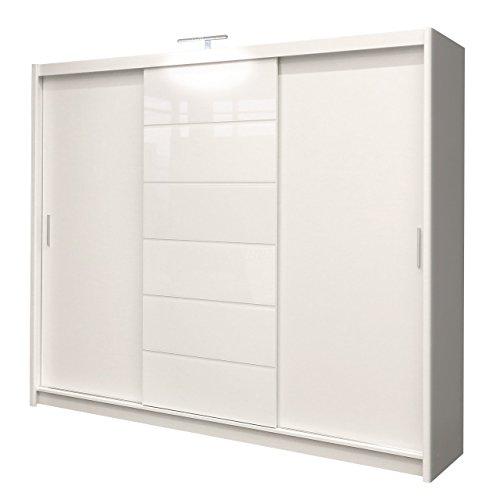 Kleiderschrank mit LED-Beleuchtung Malibu, Modernes Schwebetürenschrank, 250 x 215 x 61 cm, Schiebetür, Schlafzimmerschrank, Schlafzimmer (250 cm,...