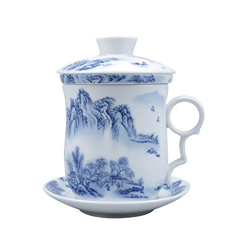 Tasse À Thé Chinois Peinture de Paysage, Jingdezhen Bleu et Blanc Porcelaine Faite Main Tasse À Thé, avec Filtrer, Couvercle et Soucoupe, pour Cadeau, Ménage, 300Ml