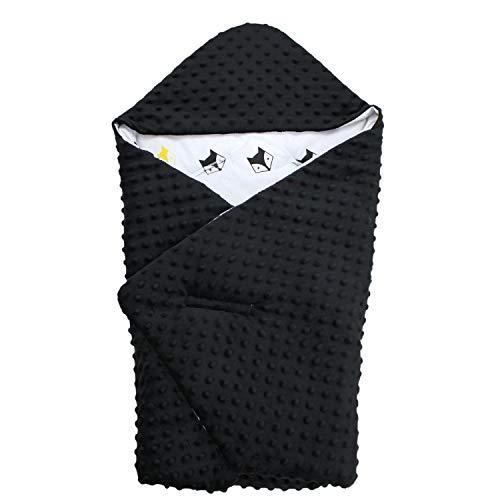 TupTam Baby Winter Einschlagdecke für Babyschale Wattiert, Farbe: Füchse Schwarz/Gelb, Größe: ca. 75 x 75 cm -