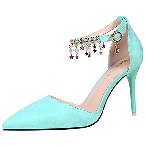 Oasap Women's Pointed Toe Ankle Strap Stiletto Heels Snadals with Metal Chain Mint Green