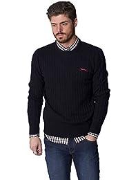 SLAZENGER pour homme Nouveau Pull col ras du cou à manches longues pour femme en tricot épais pour homme