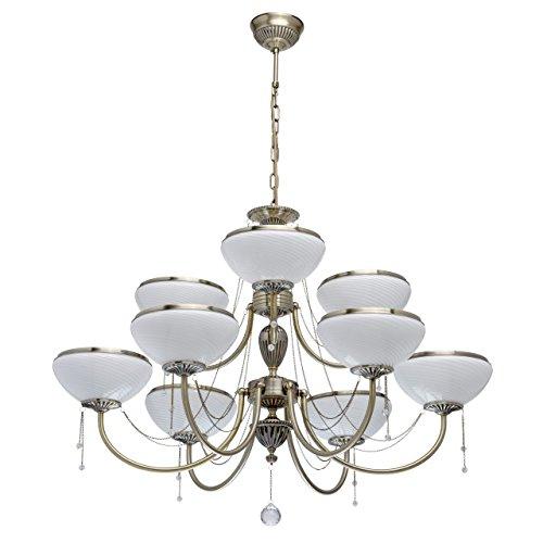 Grand lustre a 9 bras design classique en métal de couleur bronze antique avec abat-jours en verre blanc mat et pampilles en cristal pour salon ou chambre, ampoules 9 * 60W E27 non fournies