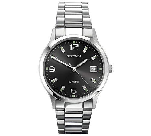 Sekonda, orologio da uomo con cinturino in acciaio inox, doppio fuso orario