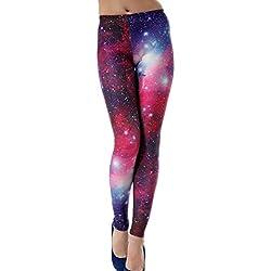 Aivtalk Moda Leggings Skinny Pantalones Lápiz Elásticos Pants para Mujer - Estampado de Galaxia Violeta