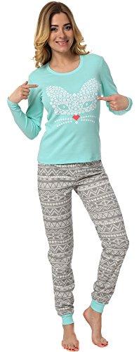 Italian Fashion IF Damen Schlafanzug M007 Pistazie