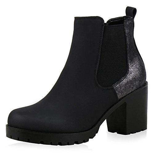 Damen Plateau Stiefelette Chelsea Boots Stiefel Trend Damen STIEFELETTEN Schwarz PU Nuovo (Frauen Anzug Schwarzen Kostüm)