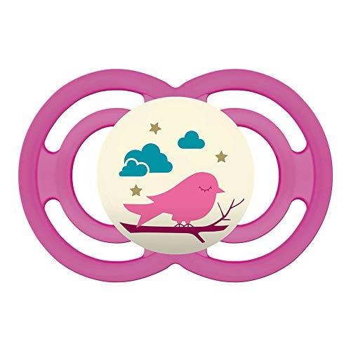 MAM Perfect Night 16+, Schnuller ab 16+ Monate beugt Zahnfehlstellungen vor, besonders dünner & flexibler Silikonschnuller leuchtet im Dunkeln, rosa (Leuchtet Mam Schnuller Dunkeln Von Im)