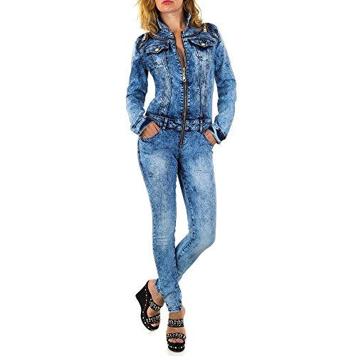 Ital-Design Jumpsuit Skinny Jeans Overall Für Damen, Blau In Gr. M