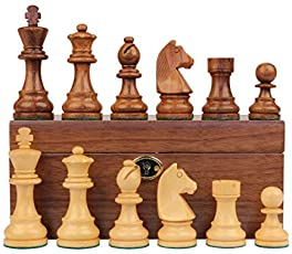 Chessncrafts 3.75inch Wooden Chess Pieces Set (Multicolour)