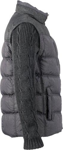 J&N - Wattierte Herren Winterjacke mit stylischer Steppung und abnehmbaren Strickärmeln (JN1068) Gemischtdunkel