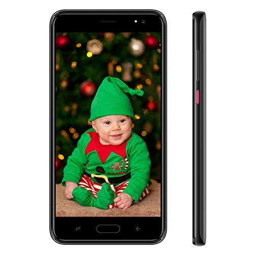 4G Smartphone Pas Cher Android 9.0 16Go de ROM 128GB Telephone Portable Debloqué 5.5 Pouces Dual SIM 8MP Caméra 4800mAh GPS Téléphone Portable Pas Cher sans Forfait J5 Plus (Noir)