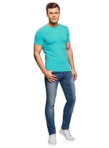 oodji Ultra Herren Tagless T-Shirt Basic Aus Baumwolle Türkis (7300N)