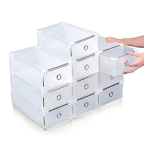 Acelectronic Schuhbox, 10-er Set Clear Plastik Damen Schuhkasten Lagerkasten Boxen,Aufbewahrung Schuhschachtel Schuhe Faltbare Halter,Multifunktional Organiser -