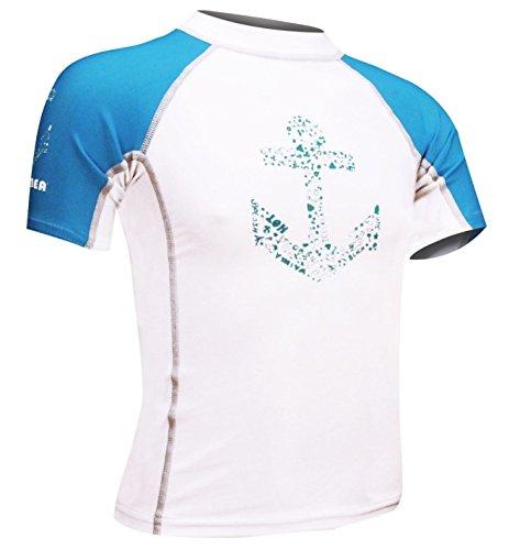 Waimea–joven kurzä rmelig UV Camiseta, todo el año, niño, color Weiß Aqua Grau, tamaño 104
