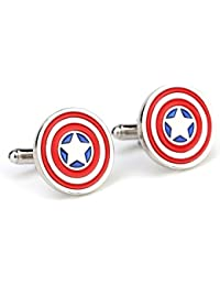 SS Multicolour Copper Albetro Captain America's Iconic Round Patriotic Shield Cufflinks for Boys and Men
