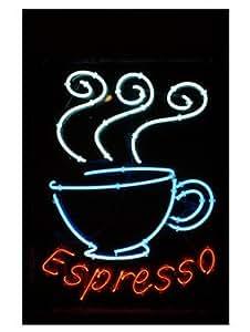 Neon ENSEIGNE LUMINEUSE d'une tasse à café expresso Art Poster PRINT inconnu 18 x 24