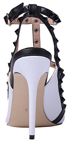 MONICOCO Übergröße High Heels T-Spangen Pumps mit Nieten Weiß-Schwarz PU