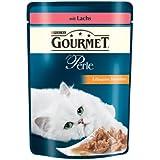 Gourmet Perle Katzenfutter Erlesene Streifen mit Lachs, 24er Pack (24 x 85 g) Beutel