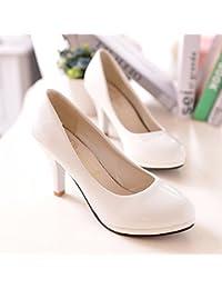 Un gran número de zapatos de mujer _oficina trabajo profesional Zapatos de cuero negro pequeño ese zapato zapato única luz de punta tacón alto de gran número ,216# blanca,34