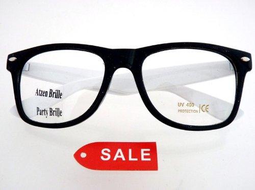 Nerd Brille Schwarz / Weisses Gestell mit Nerd Brillenbeutel