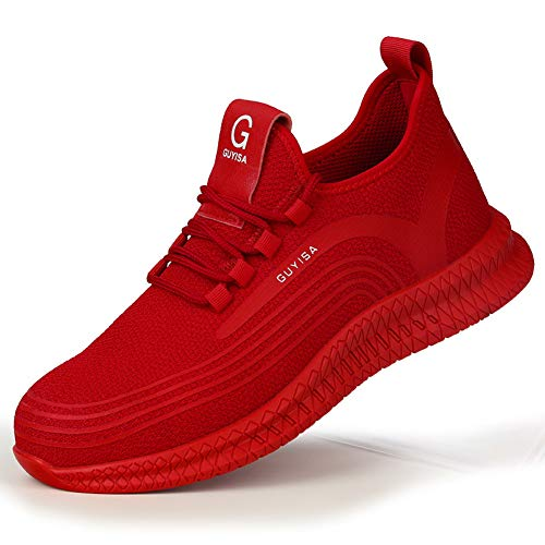 JIANYE Arbeitsschuhe S3 Herren Damen Sicherheitsschuhe mit Stahlkappe Schutzschuhe Unisex Atmungsaktiv Leicht Sneakers Rote 42