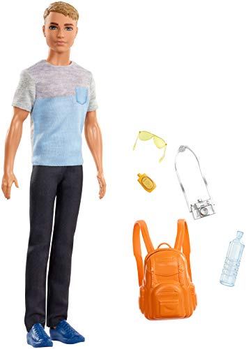 Barbie FWV15 Travel Ken Doll, with 5 Accessories, Dark Blonde
