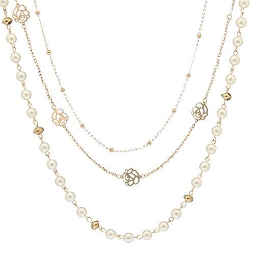 V-SOL Collar Necklace de Flores Perlas para Jersey para Mujer Tres Capas