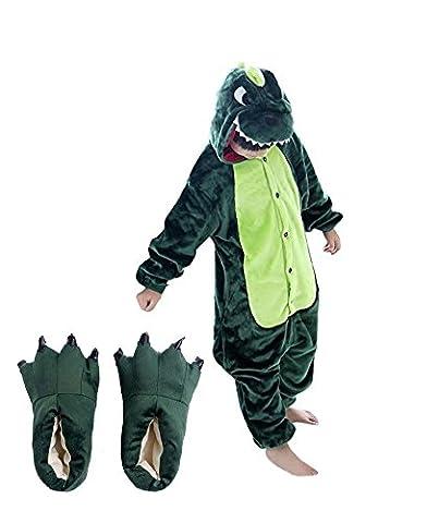 Arkind Unisexe Animal Pyjama Enfant Fille Garçon Combinaison vêtement et Chaussure Pantoufle Halloween Cosplay Costume Cadeau Anniverssaire Noël Vert Dragon
