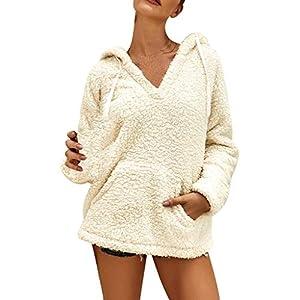 Toasye Frauen Langarm Plüschtop Damen Winter Fleece V-Ausschnitt Mit Langen Ärmeln Tasche Lässige Pullover Top Bluse