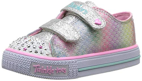 32c4dbbba64bb Skechers Kids Girls Infants Twinkle Toes Shuffles Ms. Mermaid Trainers -  Silver/Multi -