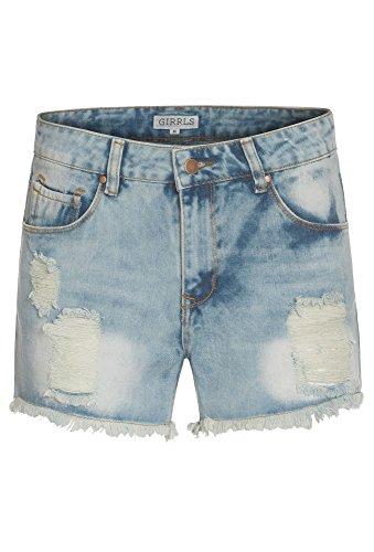 GIRRLS Jeansshorts, Damen HotPants,Shorts,Jeans,kurz,Hose,Sommer,Destroyed Hellblau  kurz Hose Jeans Shorts cd16f0e0b1