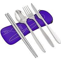 4piezas de acero inoxidable (cuchillo, tenedor, cuchara, palillos) ligero, viajes/camping cubertería con funda de neopreno