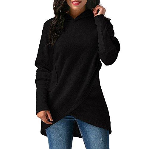 Koly donna maglia manica lunga con cappuccio cappuccio a spirale outwear tops hoodie sweatshirt felpa con cappuccio elegante chiusura a cerniera asimmetrica manica giacca casual maglione (black, l)