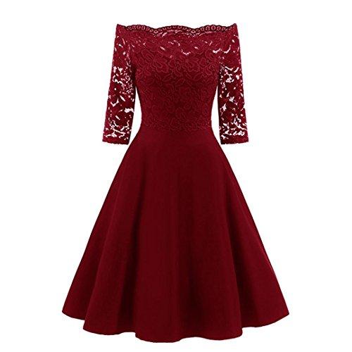 Vestidos largos mujer Sexy Vestido de fiesta de noche de mujer Vestido patchwork de encaje vintage de hombro mujer Vestido de cóctel retro del oscilación ❤️Amlaiworld❤️ (Rojo, XL)