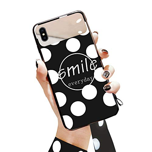 e für Mädchen, Tuerdan [Polka Dot Serie] iPhone X Hartglas Rückseite Vollständige Schutzhülle mit weichem Bumper für Apple iPhone X Polka Dot, iPhone X, Weiß mit schwarzen Punkten ()