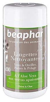 Beaphar - Lingettes nettoyantes pattes, pelage, yeux et oreilles - chien et chat - 100 lingettes