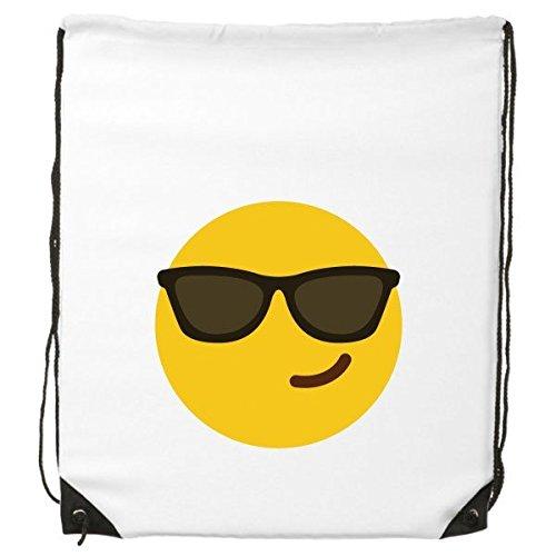 DIYthinker Sonnenbrille Cool gelb Cute Lovely Online-Chat Emoji-Illustration Muster Kordelzug Rucksack feine Linien Shopping Creative Handtasche Schulter Umweltfreundliche Tasche aus Polyester