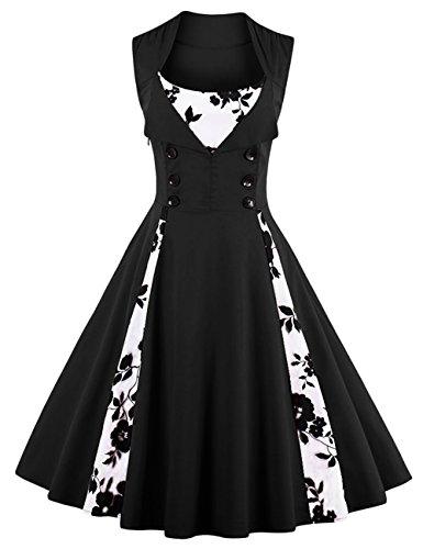vkstar® Donne degli anni 50eleganti vestito con pulsanti Vintage Rockabilly Swing Vestito Da Cocktail Schwarz-Blume